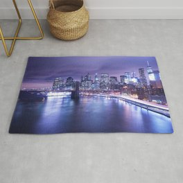 New York City Night Lights : Periwinkle Blue Rug