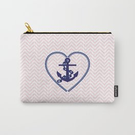 Blush pink chevron navy blue vintage nautical anchor Carry-All Pouch