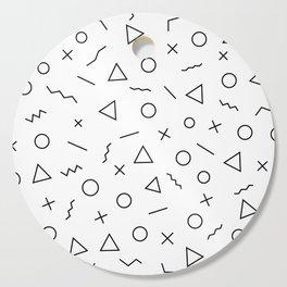 Memphis Geometry ((black on white)) Cutting Board