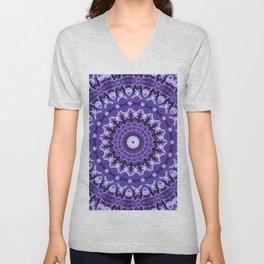 Kaleidoscope Purple Silk Unisex V-Neck