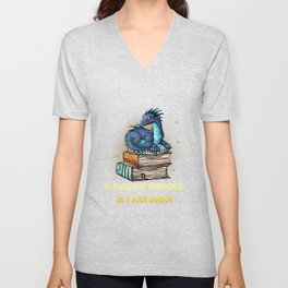 In A World Of Bookworms Be a Book Dragon BookDragon Gift T-Shirt Unisex V-Neck