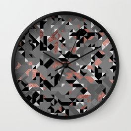 Abstract geometric modern rose gold black gray shapes triangles Wall Clock