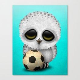 Cute Baby Owl With Football Soccer Ball Canvas Print