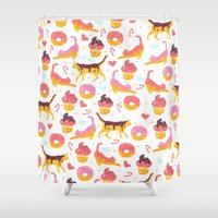 donut Shower Curtains featuring cat donut by Ceren Aksu Dikenci