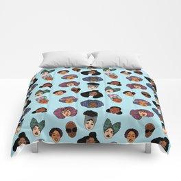 Black Hair Magic - Blue Comforters