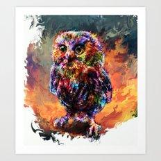 brave little owl Art Print