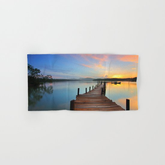 Pier on the Water at Sunset  Hand & Bath Towel
