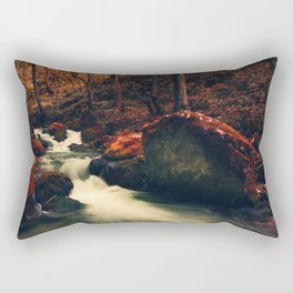 Surreal forest, river flowing in a red autumn looking forest Rectangular Pillow
