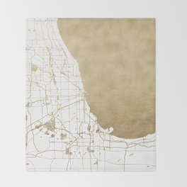 Chicago Gold and White Map Throw Blanket