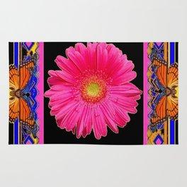 Fuchsia Pink & Orange Monarch Butterflies  Sunflower Patterns Art Rug