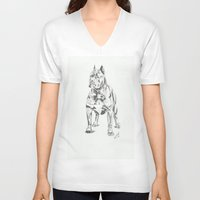 pit bull V-neck T-shirts featuring Pit Bull  by RJsART