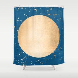 Paint Spatter Sun - Orange Sherbet Shimmer on Saltwater Taffy Teal Shower Curtain