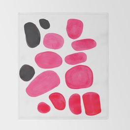 Abstract Minimalist Mid Century Modern Colorful Pop Art Pink Pastel Pebble Bubbles Throw Blanket
