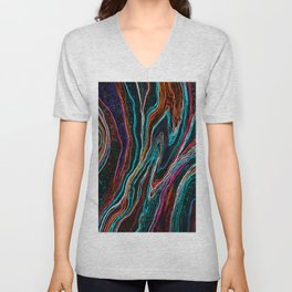 Electric fluids, abstract digital painting Unisex V-Neck