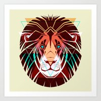 hipster lion Art Prints featuring Lion by Pevuna