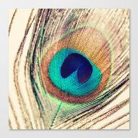 peacock feather Canvas Prints featuring Peacock Feather  by Laura Ruth