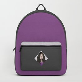Young woman in violet Backpack