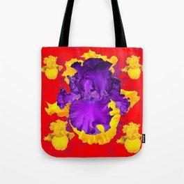 Decorative Modern Red Purple Iris Color Golden Pattern  Art Tote Bag