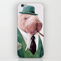 walrus iPhone & iPod Skins featuring Walrus Green by Animal Crew