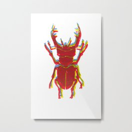 Stag Beetle Tricolore lino cut Metal Print