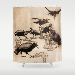 """The Seven Ravens"" by Arthur Rackham From The Grimm Brothers Shower Curtain"