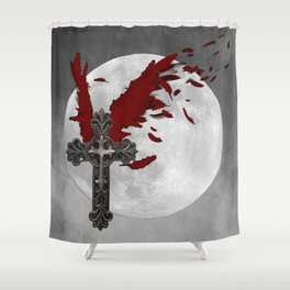 Red Black Grey Salvation Cross Wings Moon Gothic Art A624 Shower Curtain
