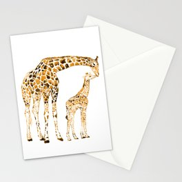 family girrafes, watercolor Stationery Cards