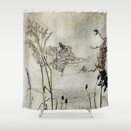"""Fairies Dancing on Spiderweb"" by Arthur Rackham Shower Curtain"