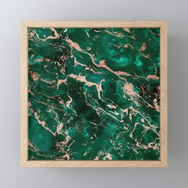 Modern rose gold marble green emerald watercolor pattern Framed Mini Art Print