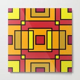 Interlocking Atumn colours Squares Metal Print
