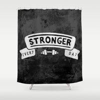 crossfit Shower Curtains featuring Stronger Every Day (dumbbell, black & white) by Lionheart Art