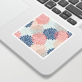 Floral Bloom Print, Living Coral, Pale Aqua Blue, Gray, Navy Sticker