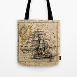 VINTAGE EUROPEAN MAP & SHIP Tote Bag