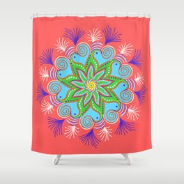 Vibrant Vermillion Mandala Shower Curtain