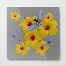 BLUE DRAGONFLIES YELLOW HIBISCUS GREY Metal Print