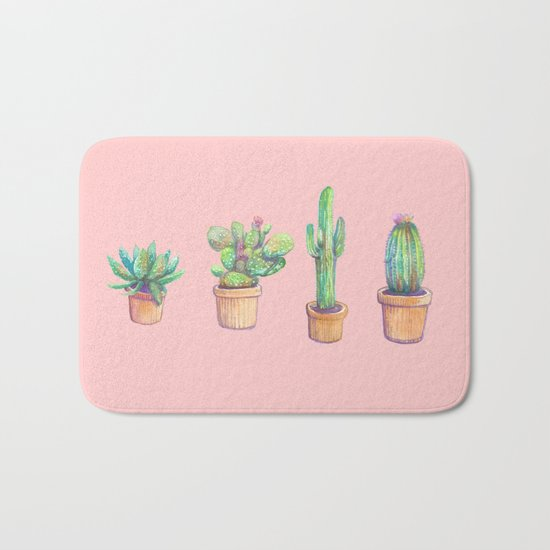 four water color cactus in pink Bath Mat