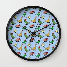 Roller Derby Dinosaurs Pattern Wall Clock