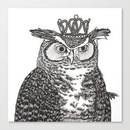 Great Horned Owl Wearing a Glittering Crown Canvas Print
