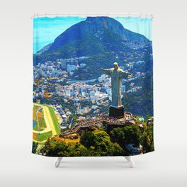 Beautiful Aerial view of Rio de Janeiro with Christ Redeemer and Corcovado Mountain - Brazil Shower Curtain