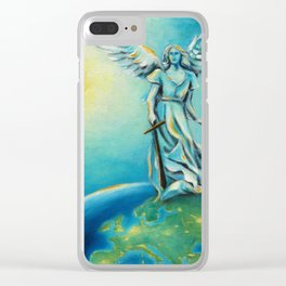 Archangel Michael - Hand painted Angel Art Clear iPhone Case