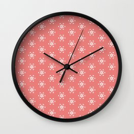 white star pattern on salmonpink color background Wall Clock