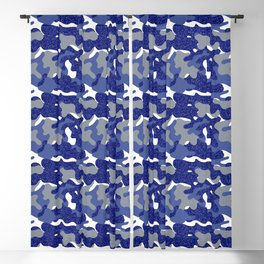 Bright Blue Camouflage Sparkle Camo Army Soldier  Blackout Curtain