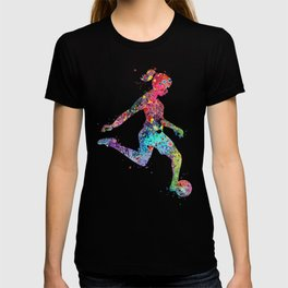 Girl Soccer Player Watercolor Sports Art T-shirt