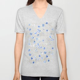 blue abstract hydrangea pattern Unisex V-Neck