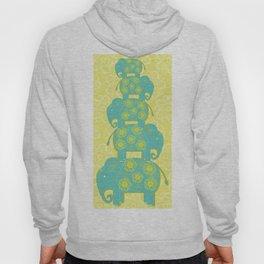 Blue Elephant Yellow Background Hoody
