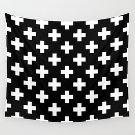 Black & White Plus Sign Pattern Wall Tapestry