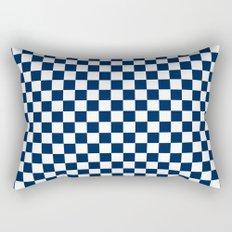 Checkered Blue and White Rectangular Pillow