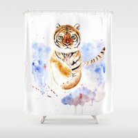 tiger Shower Curtains featuring Tiger by Anna Shell