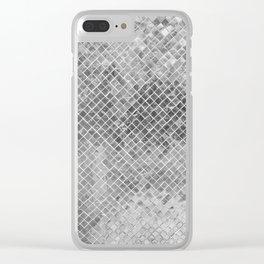 Abstract silver glitter modern geometric elegant pattern Clear iPhone Case