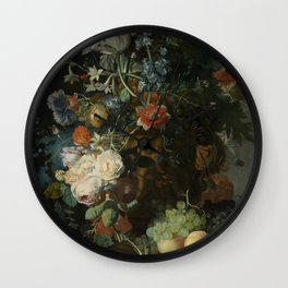 Jan van Huysum - Still life with flowers and fruits (1721) Wall Clock